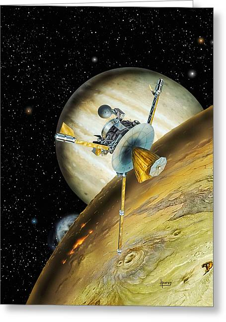 Galileo Spacecraft With Io And Jupiter Greeting Card by David A Hardy and Photo Researchers