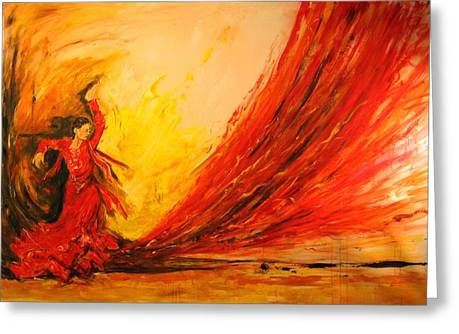 Greeting Card featuring the painting Gift Of Fire by Debora Cardaci