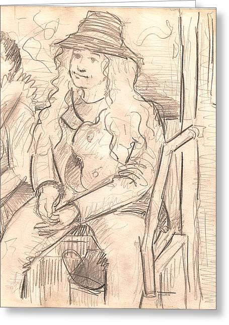 Girl On A Train Greeting Card by Al Goldfarb