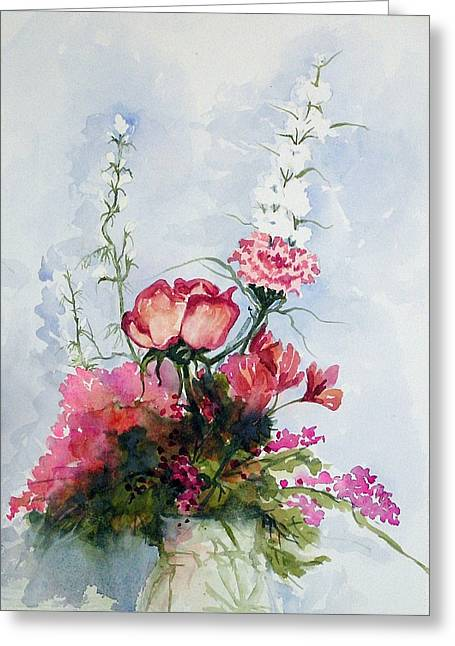 Greeting Card featuring the painting Goodbye Bouquet  by Pat Crowther