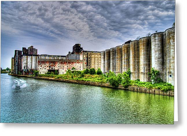 Grain Silos On The Buffalo River Greeting Card by Tammy Wetzel