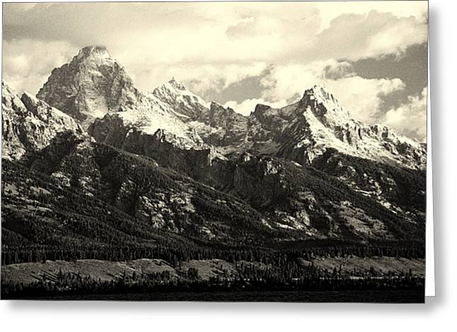 Grand Teton Range In Vintage Light Greeting Card by The Forests Edge Photography - Diane Sandoval