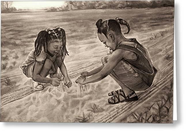 Grandma's Sand Greeting Card by Curtis James