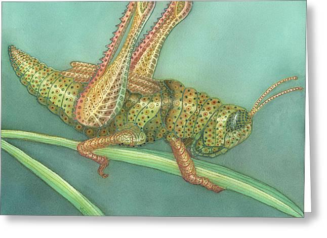 Grasshopper Greeting Card by Anne Havard