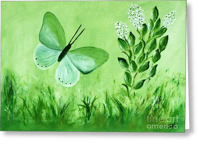 Greeting Card featuring the painting Green Butterfly by Sonya Nancy Capling-Bacle