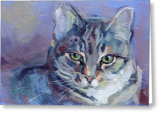 Green Eyed Tabby - Thomasina Greeting Card by Kimberly Santini