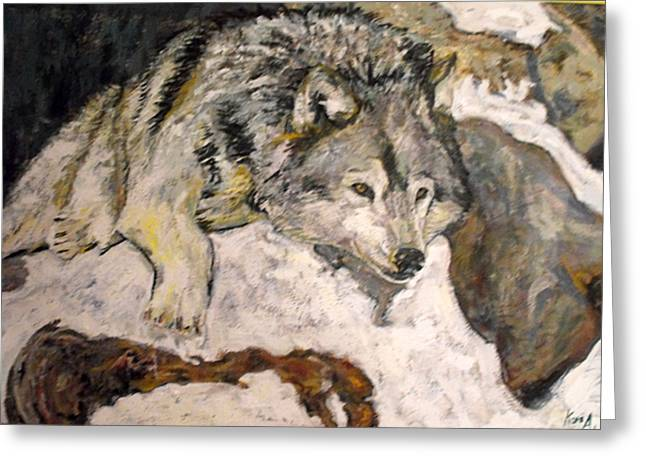 Greeting Card featuring the painting Grey Wolf Resting In The Snow by Koro Arandia