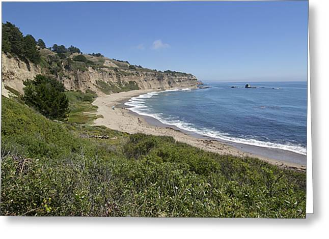 Greyhound Rock Beach Panorama - Santa Cruz - California Greeting Card by Brendan Reals