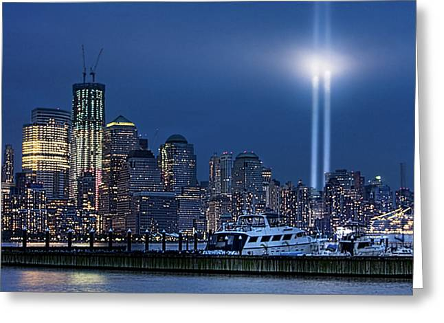 Ground Zero Tribute Lights And The Freedom Tower Greeting Card by Chris Lord