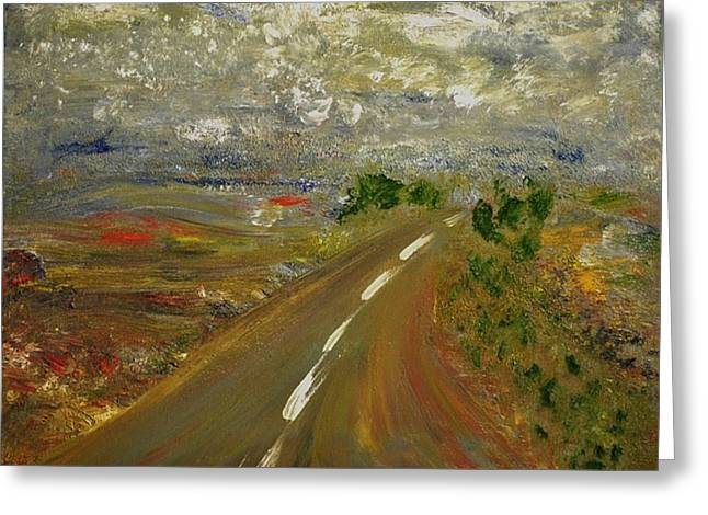 Greeting Card featuring the painting Hit The Road by Evelina Popilian