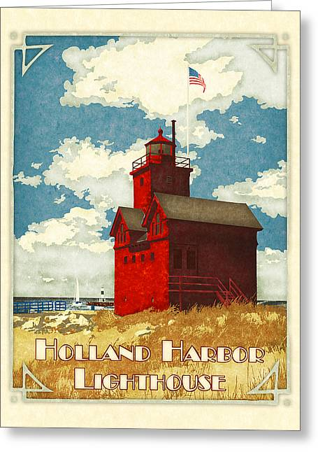 Holland Harbor Lighthouse Greeting Card by Antoinette Houtman
