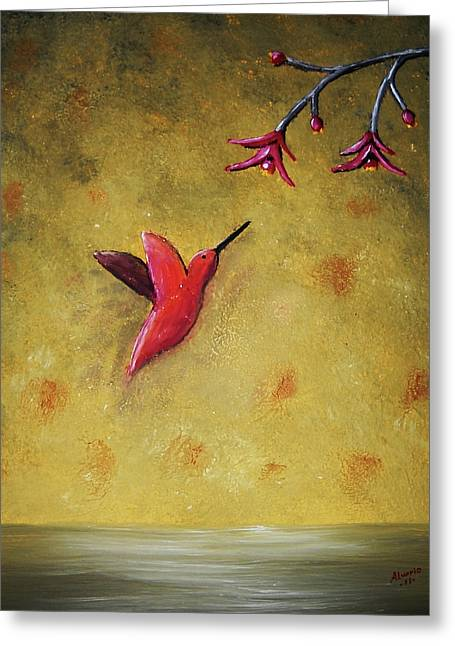 Greeting Card featuring the painting Hummingbird by Edwin Alverio