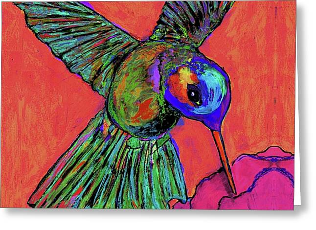 Hummingbird On Red Greeting Card