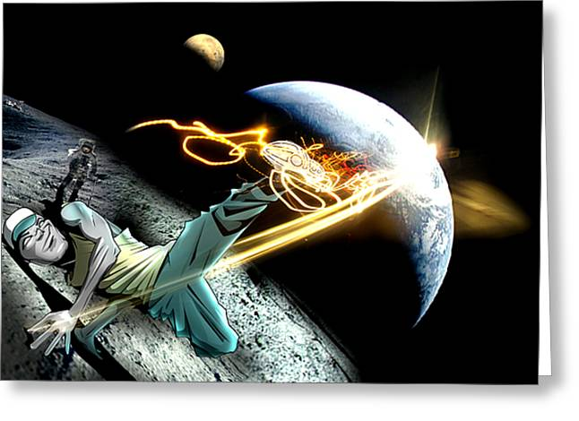 Intergalactic Bboy Greeting Card by Jay Reed