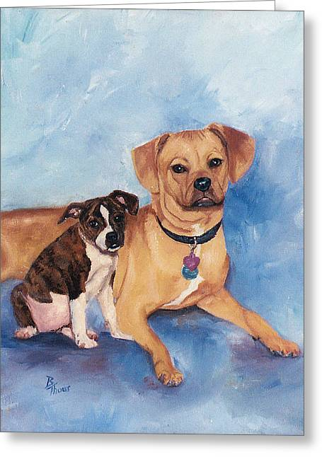 Jaz And Lily Greeting Card by Brenda Thour