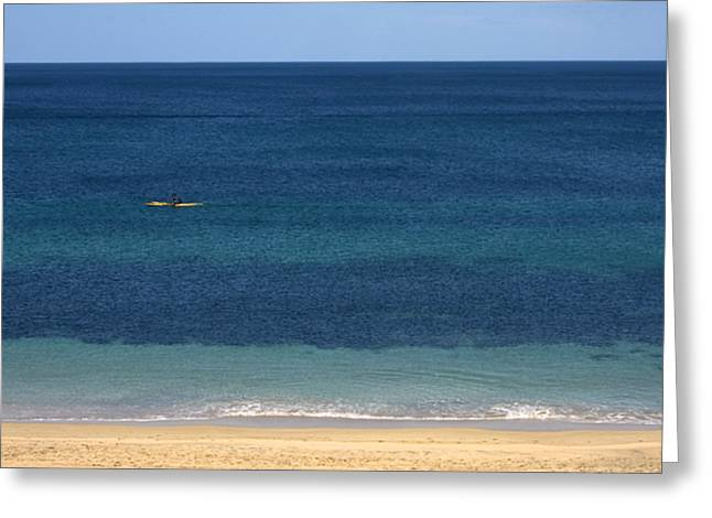 Kayaking On The Coastline Of Wa Greeting Card by Zoe Ferrie