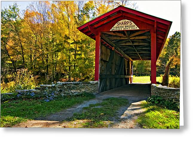 Kissing Bridge Painted Greeting Card by Steve Harrington