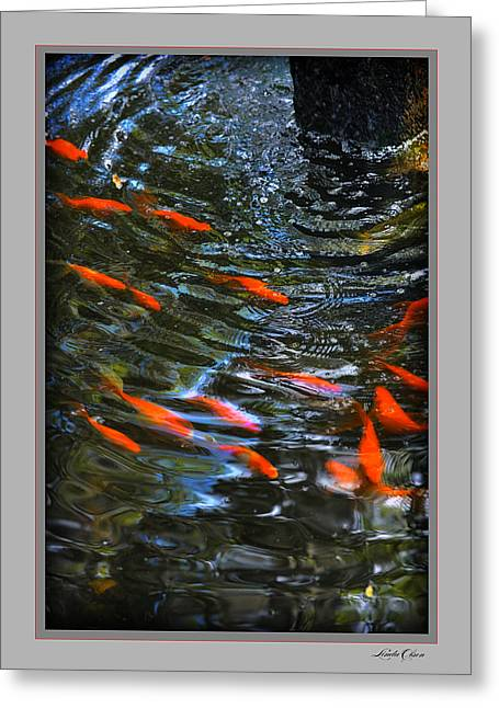 Greeting Card featuring the photograph Koi Swirl by Linda Olsen