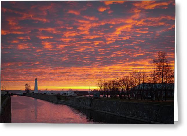 Kronstadt Lighthouse Greeting Card by Konstantin Dikovsky