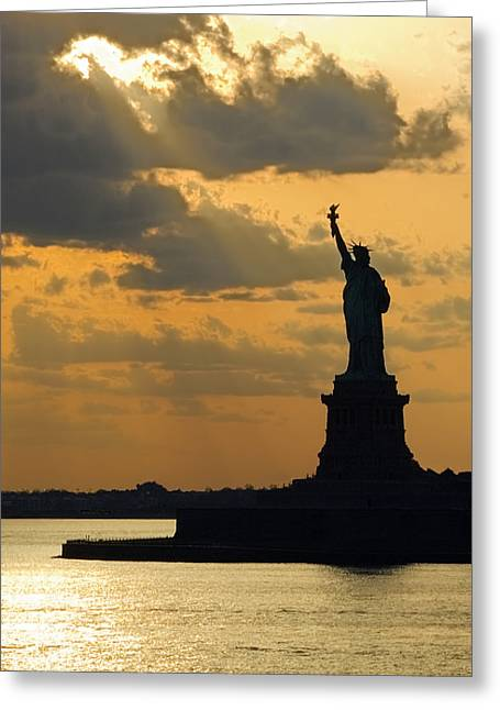 Lady Liberty Greeting Card by Michael Flood