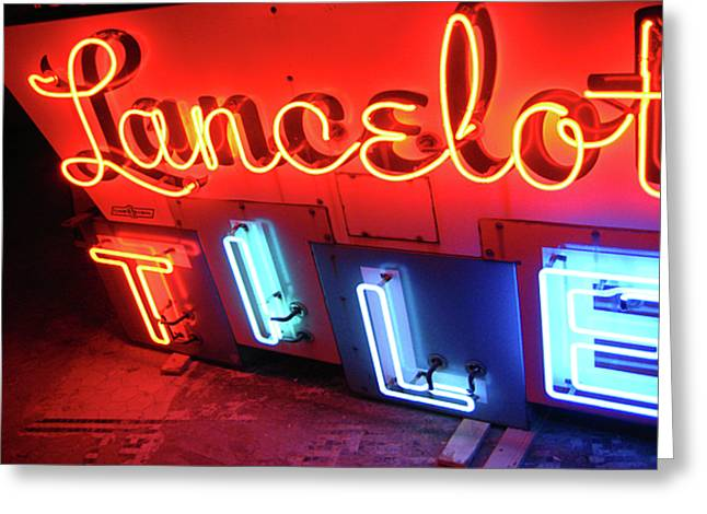 Lancelot Tile Neon Photograph Greeting Card by Uli Gonzalez