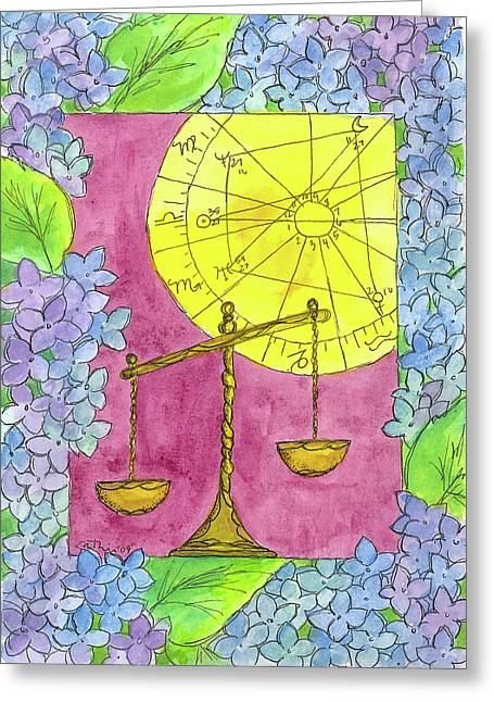 Greeting Card featuring the painting Libra by Cathie Richardson