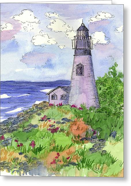 Greeting Card featuring the painting Lighthouse In Summer  by Cathie Richardson