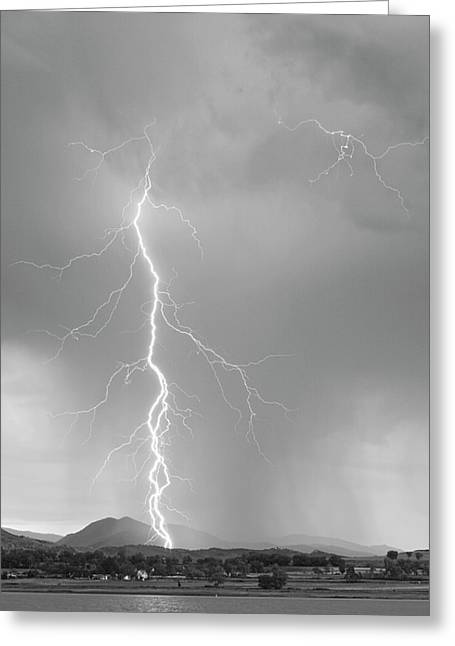 Lightning Strike Colorado Rocky Mountain Foothills Bw Greeting Card by James BO  Insogna