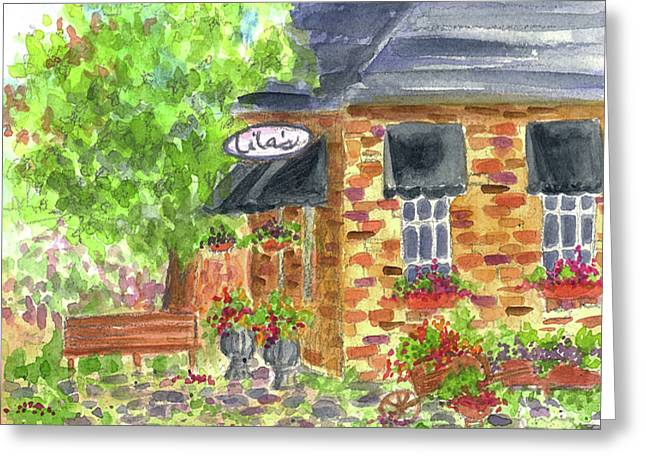 Greeting Card featuring the painting Lila's Cafe by Cathie Richardson