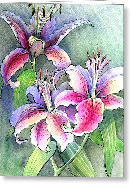 Lilies Greeting Card by Khromykh Natalia