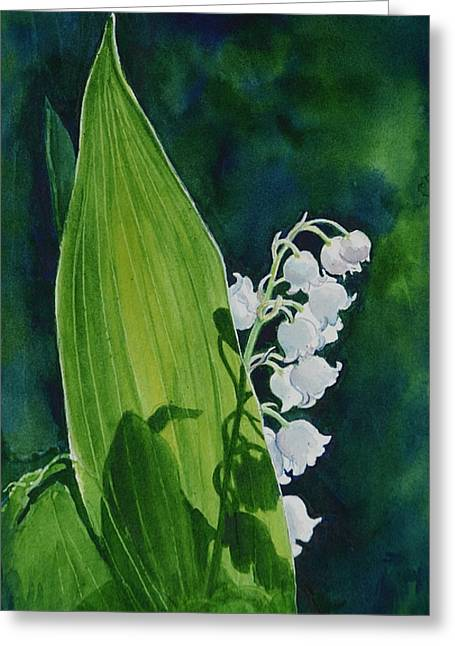Greeting Card featuring the painting Lily Of The Valley by Margit Sampogna