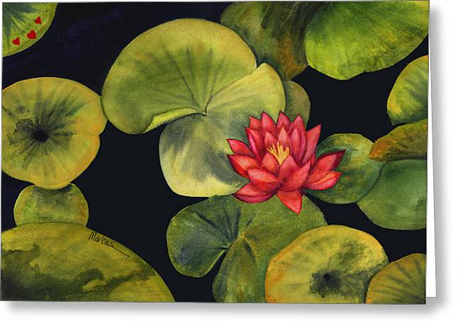 Lotus Light Jade Greeting Card by Leslie Marcus