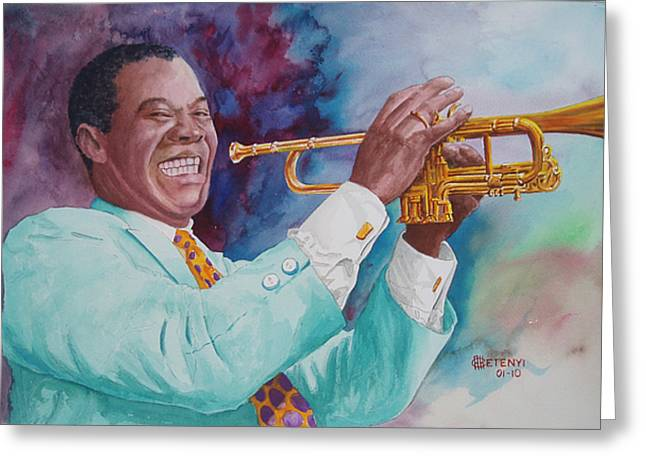 Louis Armstrong Greeting Card by Charles Hetenyi