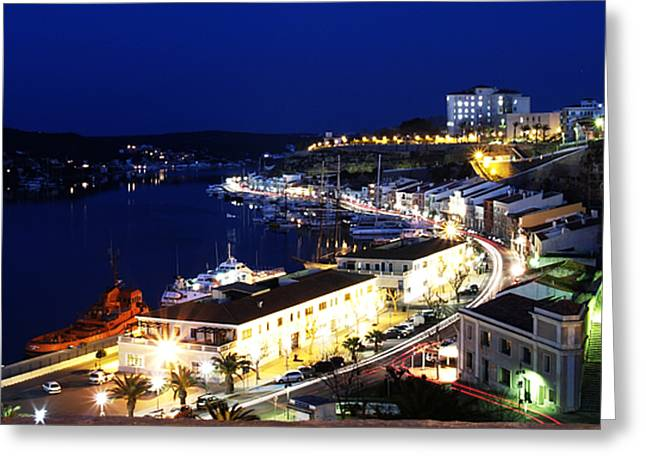 Greeting Card featuring the photograph Mahon Harbour At Night by Pedro Cardona