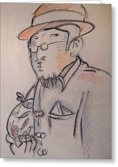 Matisse En Route To His Studio With Goldfish Greeting Card by Charlie Spear