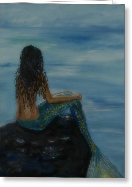 Mermaid Mist Greeting Card by Leslie Allen