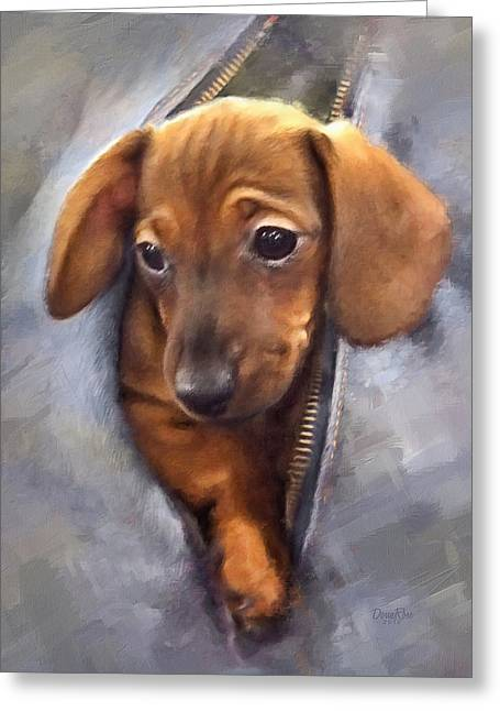 Miniature Dachshund Greeting Card by   DonaRose