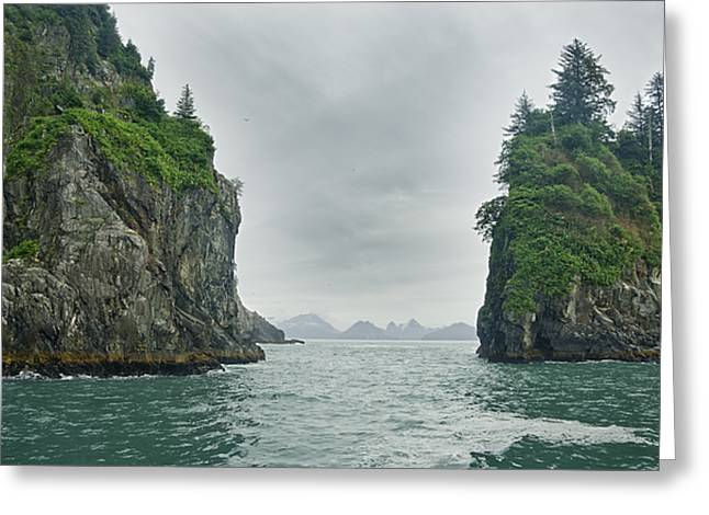 Monoliths In Aialik Cape On A Foggy Greeting Card by James Forte