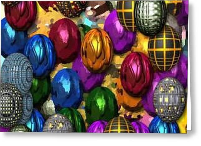 More Digital Eggs Greeting Card by Caroline Lifshey