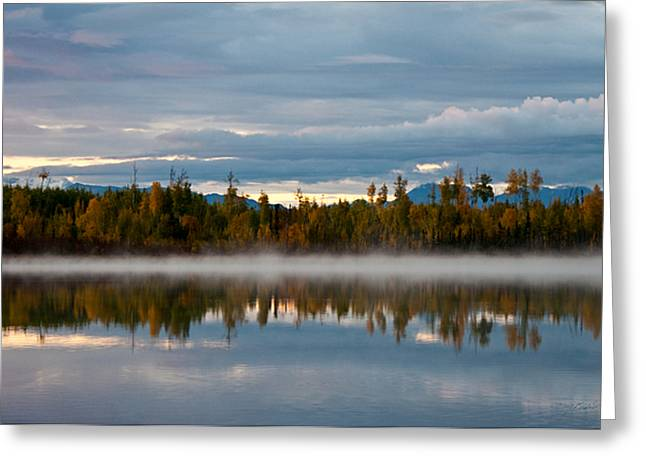 Morning Mist On Hourglass Lake Greeting Card by Melissa Wyatt