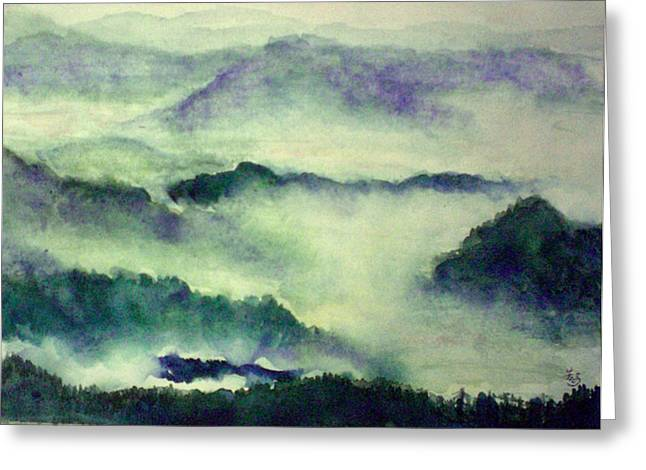 Greeting Card featuring the painting Mountain Oriental Style by Yoshiko Mishina