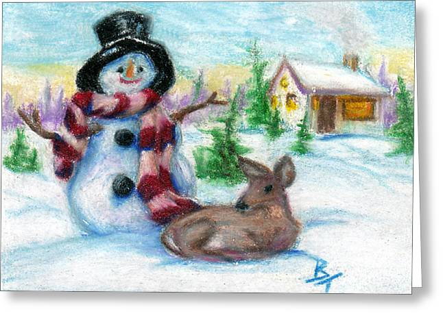 Mr. Snowman Aceo Greeting Card