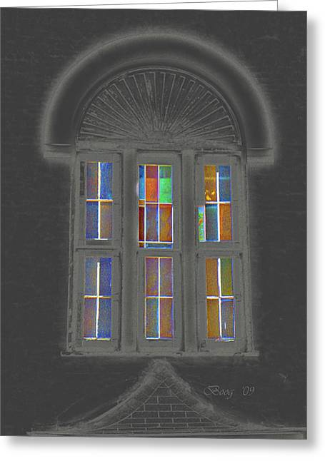 Greeting Card featuring the photograph Night Window by Larry Bishop