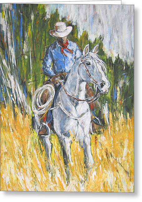 Greeting Card featuring the painting No Looking Back by Debora Cardaci