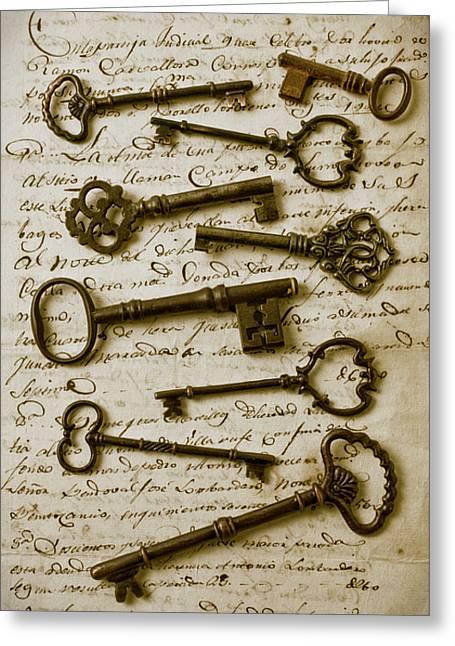 Old Keys On Letter Greeting Card