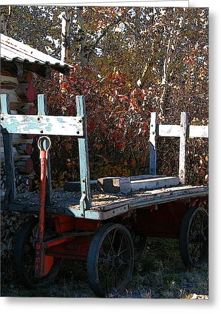 Old Wagon Greeting Card by Stuart Turnbull