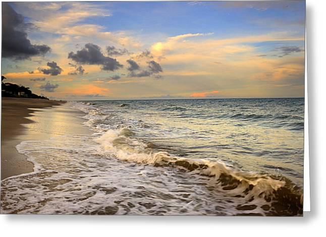 Orange Glowing In The Pacific Ocean Greeting Card by Iris Greenwell