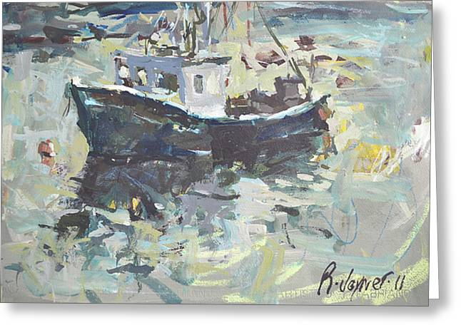 Greeting Card featuring the painting Original Lobster Boat Painting by Robert Joyner