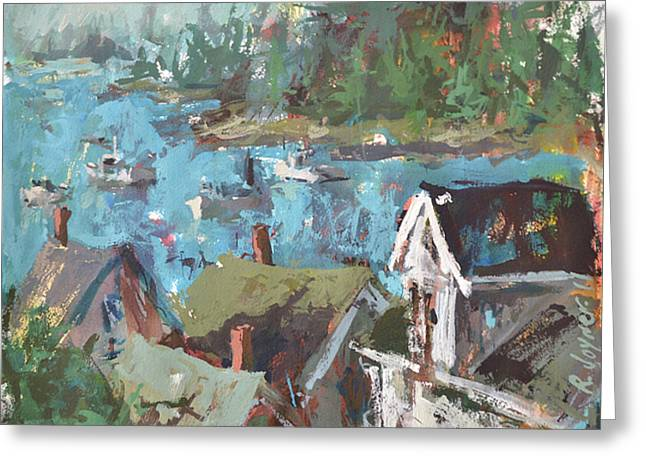 Greeting Card featuring the painting Original Modern Abstract Maine Landscape Painting by Robert Joyner