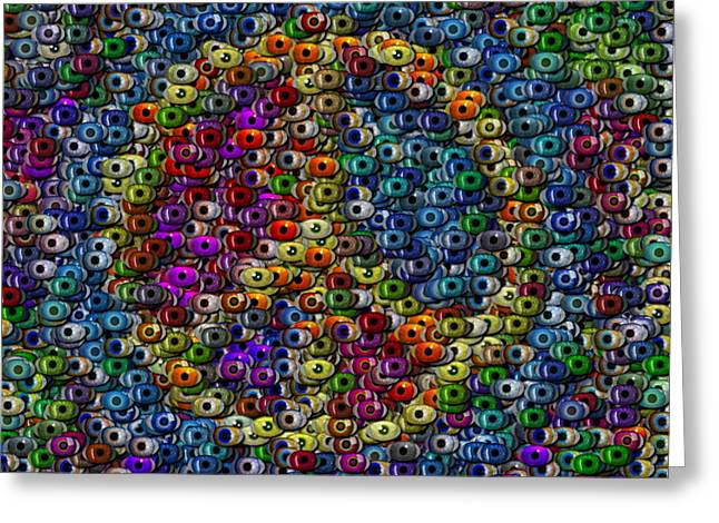 Peace Sign Eyeball Mosaic Greeting Card by Paul Van Scott